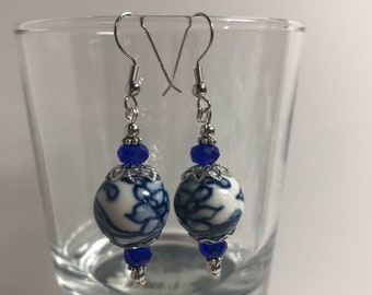 Blue and White Ceramic Drop Earrings
