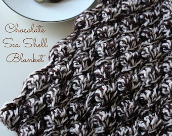 Download Now - CROCHET PATTERN Chocolate Sea Shell Blanket - Make to Any Size - Pattern PDF