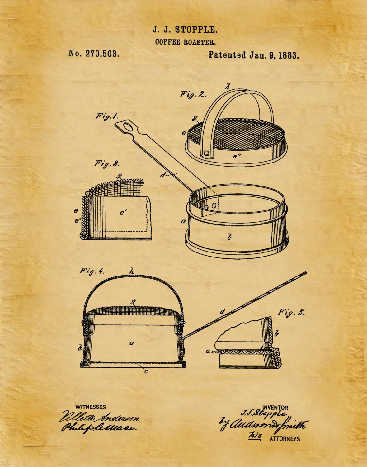 Patent 1883 Coffee Roaster - Wall Art Print - Kitchen Art- Poster ...
