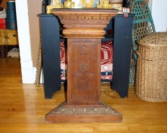 Knights of Pythias Carved Plinth Pedestal Antique 1800s Lodge Decor