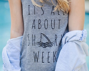 It's All about SHARK WEEK Ladies Heathered Tank Top Shirt screenprint Alternative Apparel