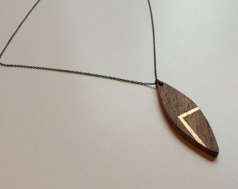 Painted Wood Pendant - Reclaimed Gift for Her - Portland Jewelry - Wood Necklace - Wood Jewelry - Silver and Wood - Hand Carved Wood Jewelry