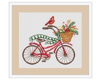 Winter Bicycle Cross Stitch Pattern Modern cross stitch Bike Christmas Cardinal Bird Embroidery Baby cross stitch PDF xstitch