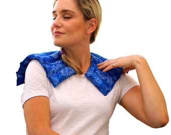 Neck Heating Pad, Microwavable Heated Neck Wrap, Herbal Heat Therapy, Neck Warmer, Cold & Heat Packs, Gift For Him and Her (Blue Flowers)