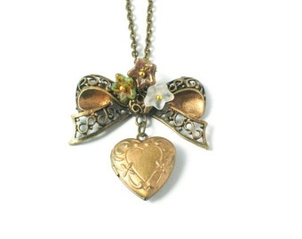 Bronze and gold locket necklace, Vintage charm antique jewellery, 1920s jewelry