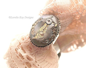 Steampunk Ring Unique Watch Part Fine Silver Plated Ring Lorelie Kay Original
