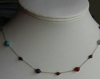 Chakra Rainbow Semi-precious Necklace - carefully hand knotted