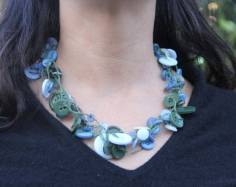 Multi-strand Necklace // blue green buttons // chunky necklace // green hemp twine // eco gifts