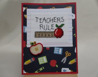 Teacher's Rule Greeting Card Cross Stitched