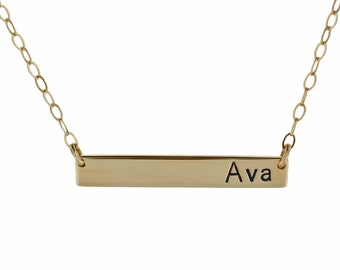 Gold bar Necklace, 14k gold initial custom stamped rectangle Baguette personalized monogram letter bridesmaids modern minimal jewelry 1.25""