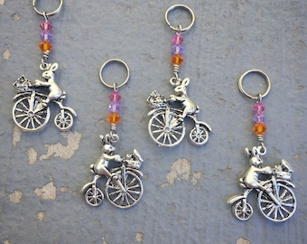 Bunny-Farthing Express: Bunny on a Bicycle Stitch Markers with Swarovski Crystals for Knitters & Crocheters