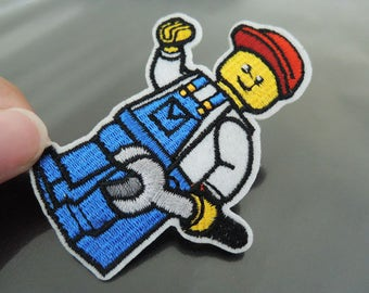 Iron on Patch - Cute Worker Patch Cartoon Workers Patches Iron on Applique Embroidered Patch Sewing Patch