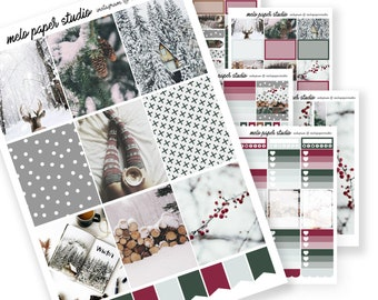 Woodland Winter DELUXE KIT Planner Sticker Erin Condren Photography Sweater Weather Winter Holidays December Christmas Woods