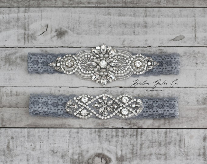 Wedding Garter, NO SLIP Lace Wedding Garter Set, bridal garter set, vintage rhinestones D04S-D02S