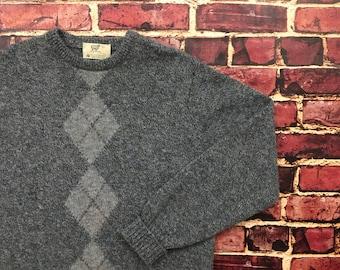 Vintage Wool Sweater Cozy Sweater Lord Jeff Shetland Wool Winter Sweater Mens Large Lord Jeff Plaid Wool Pullover Sweatshirt Crewneck
