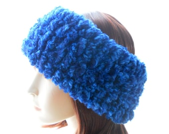 Bright Blue Faux Fur Headband, Women's Wool - Blend Cowl, Handknit Headband, Medium to Large Size