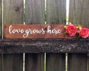 Love Grows Here handpainted wooden sign with flower, home decoration