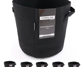 5 Gallon Grow Bags [5 Pack] by Formline Supply - Heavy Duty Fabric Planters with Handles for Use in Outdoor Garden and Indoor Grow Tents