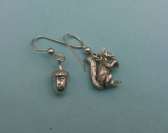 Sterling Silver Squirrel And Acorn Dangle Earrings