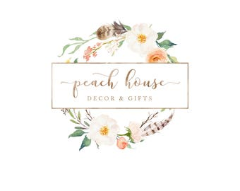Rustic Watercolor Logo, Logo Design, Floral Logo, Premade Logo, Business Logo, Floral Wreath Logo, Watercolor Flowers, Branding, Flower Logo