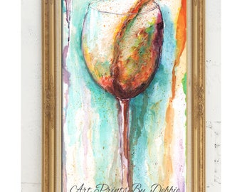 "Mother's Day Gift For White Wine Lover, Order By May 10 And Get By Mothers Day, Fine Art Giclee Modern White Wine Wall Art, 10X20"", 24X36"""