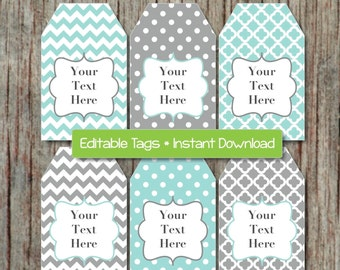 Editable gift tag etsy editable gift tags printable labels digital collage editable jpg file light teal grey instant download printable negle Image collections