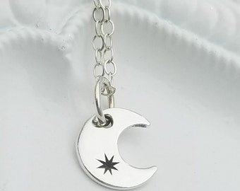Silver Moon Necklace, Dainty Moon Necklace, Dainty Silver Moon Necklace, Crescent Moon Necklace, Silver Crescent Moon Necklace