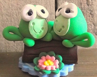 Two frogs on a log polymer clay figurine