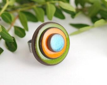 "Adjustable ring ceramic collection ""confetti"" blue orange Green"