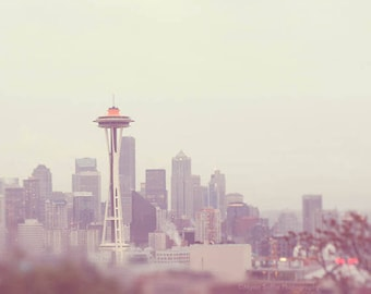 Space Needle photography, downtown Seattle skyline photograph, grey purple gold cityscape Washington Pacific Northwest, large home decor