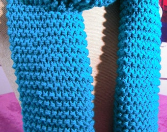 Hand knitted green scarf,
