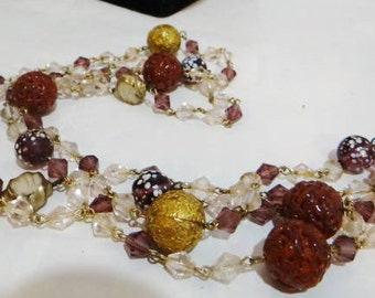 Vintage Murano Glass Beaded Necklace Venetian Lampwork Deco Jewelry Czech Flapper Gorgeous
