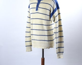 1980's Blue and White Striped Cotton Knit Sweater by Daniel Hechter, Size Large