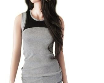 Tank gray women/color block black/sleeveless top
