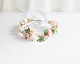 Peach Flower Girl, Peach Floral Crown, Maternity Flower Crown, Peach Flower Crown, Spring Flower Crown, Bridal Flower Crown, Peach Halo