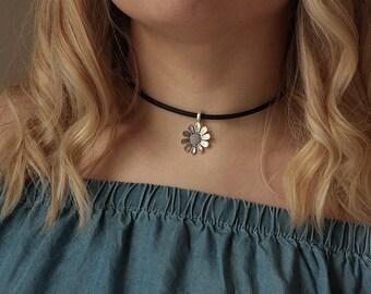 Leather Choker,Choker Necklace, boho necklace, bohemian jewelry,leather jewelry,women jewelry,flower necklace,boho jewelry,bohemian necklace