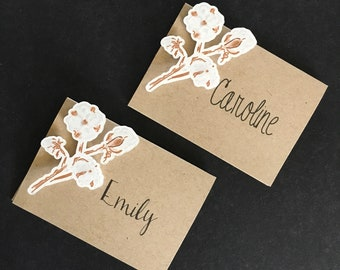 Raw Cotton  Place Cards; Kraft paper cardstock ; Die Cut  3D Place Cards; hand drawn cotton; set of 6
