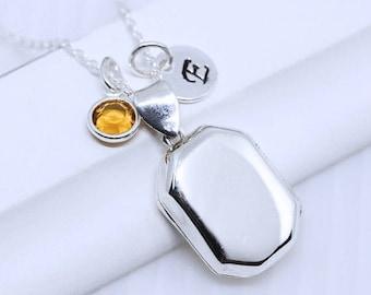Solid  Sterling Silver Rectangular Locket - Heirloom Medium Locket, Remembrance. Choose chain, Personalized locket. Locket jewelry. R-30