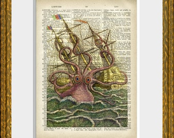 Kracken OCTOPUS ATTACKING SHIP art print - upcycled antique dictionary page with a fun antique ocean illustration - vintage  wall art