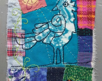 Celtic Crow unique textile art