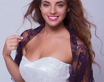 Purple Lace Wedding Shrug. Versatile Top- Shawl, Shrug, Twist Or Scarf. Lace Bridesmaids Shrugs, Bridal Bolero, Elegant Bridesmaid Cover Up