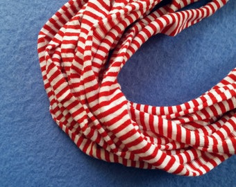 Red and White Striped Recycled T-shirt Infinity Scarf Necklace - upcycled tshirt scarf tarn tshirt yarn, striped scarf, ecofashion