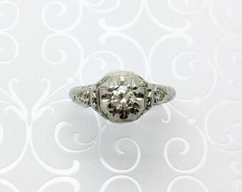 Art Deco Diamond Engagement Ring ~ Filigree Ring ~ 18kt White Gold ~ w Appraisal