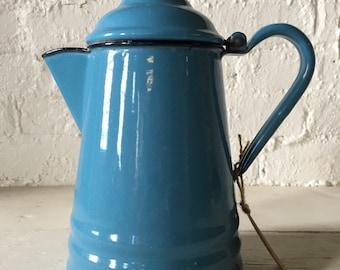 Vintage Bird's Egg Blue Enamel Coffee Pot,  Farmhouse - Cottage