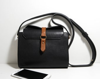 Small Aenor CNGo18 cowhide leather bag black and gold shoulder bag
