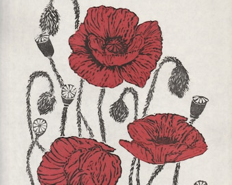 Poppies Linocut, Lino Block Print, White, Black, Red, Floral, Poppies for Remembrance