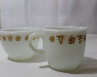 Vintage Pyrex Butterfly Gold Cream and Open Sugar Set