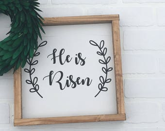 He is Risen sign, wood sign, sign, farmhouse, he is risen, easter, spring, jesus