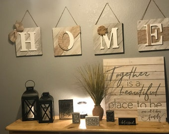 12x12 Wood plank letter word wall decor