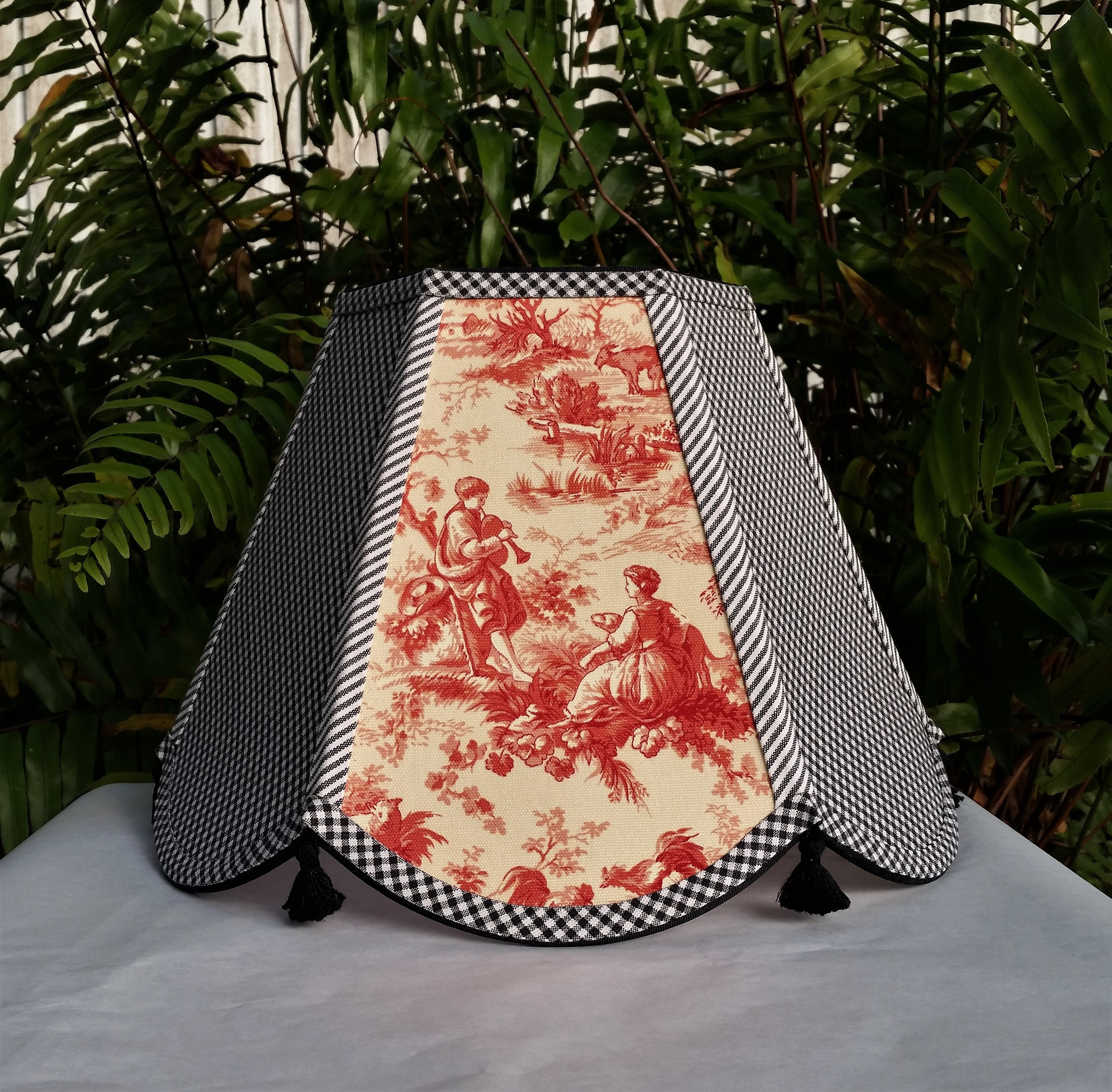 Toile lampshade check gingham black red yellow ivory hex bell toile lampshade check gingham black red yellow ivory hex bell large table lamp floor lamp custom handmade french country decor aloadofball Choice Image